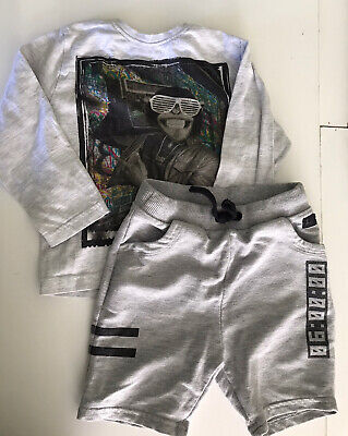 River Island/ Primark Grey Shorts Chimp Top Set Outfit 2-3 Years