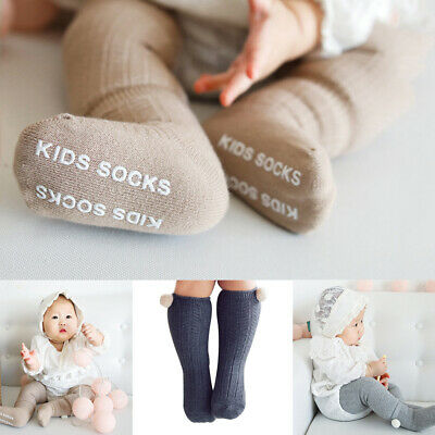 Newborn  Boy Girl  Anti Slip Baby Socks Knit Knee High Socks  Pompom Ball