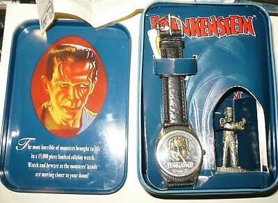 1995 FOSSIL WATCH: FRANKENSTEIN LIMITED ED with box tags pewter statue b3