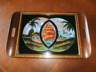 Vintage Antique Santos Reverse Painted Glass Cocktail Tray w/ Butterfly Wings