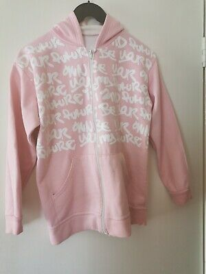 GIRL'S PINK & WHITE COLOURED HOODED JACKET - BE YOUR OWN FUTURE - age 11/12