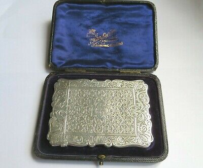 Beautiful Antique Solid Silver Calling Card Case 1881 Frederick Marson Boxed