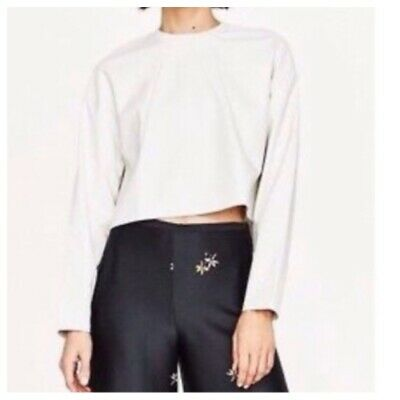 ZARA Size S Fit 8/10 UK Faux Leather Cropped Top Jumper Good Condition