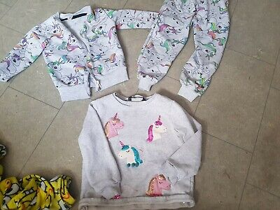 Girls  Unicorn lightweight tracksuit and jumper Outfit  age 2-3 Years very cute