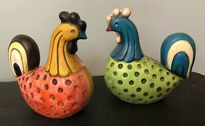 2 Vintage Rooster Figurines Ardco Dallas Japan MCM Farmhouse Folk Art