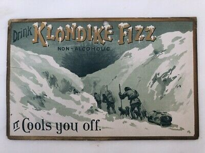 1900s KLONDIKE FIZZ SODA Advertising SIGN Antique DOG SLED Boonville Indiana