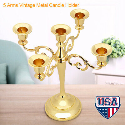 5 Arms Metal Candle Holder Candelabra Alloy Crafts Stand Wedding Home Decor Gold