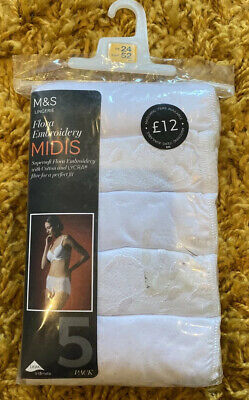 M&S Size 24 Midis Knickers Briefs 5 Pairs New Cotton White Marks And Spencer