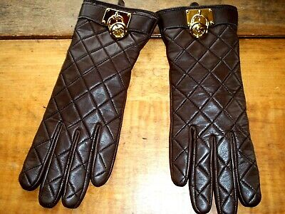 Women's Size S-M MICHAEL KORS Leather BROWN Quilted MK Charm Gloves NWOT