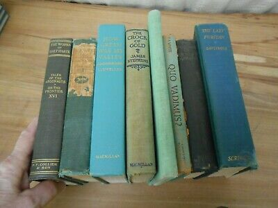 Lot OF 8 Green  Shades of Green  Old Vintage Antique Rare  Hardcover Books