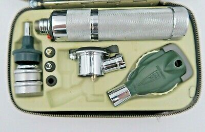 Welch Allyn Otoscope Ophthalmoscope Set Instrument Case & Attachments Vintage