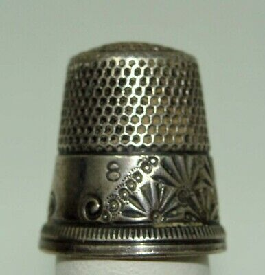 Antique Vintage Sterling Silver Thimble Size 8 Marked M8D**Wow!!!