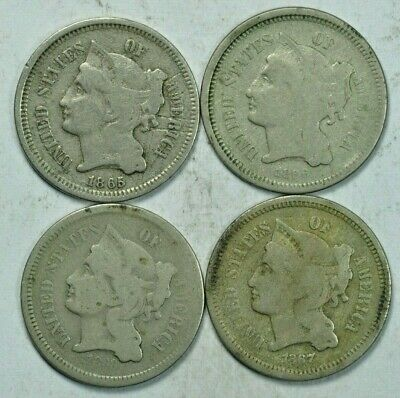 3C Three Cent Nickel Coin LOT OF 4 COINS 1865 1865 1867 1868