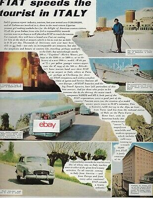 Fiat Motor Co 1955 Speeds Tourist In Italy From Hotels & Car Hire-Ships-Bus Ad