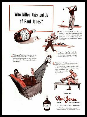 "1940 Golfers ""Who Killed This Bottle Of Paul Jones Whiskey?"" Vintage Print Ad"