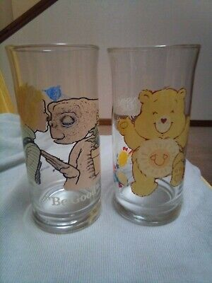 2, 1982 ET & 1983 CARE BEARS LIMITED EDITION COLLECTORS SERIES Pizza Hut GLASSES