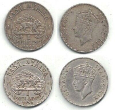 1949 and 1950 British East Africa Lightly Circulated One Shilling Coins ~