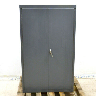 "36"" x 18"" x 60"" Gray 2-Door 1-Latch 2-Shelf Steel Upright Storage Cabinet 5ft"
