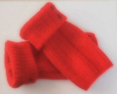 Fingerless Gloves Red Women's 100% Wool Size Xs -S Extra Small - Small Texting