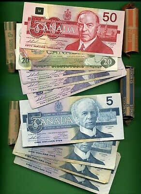 Canada ~ $158 Face Value Canadian Money ~ Circulated ~ Just Spending Money