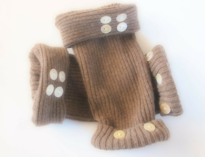 Fingerless Gloves Women's Brown Cashmere Merino Wool One Size Fits Most S M L