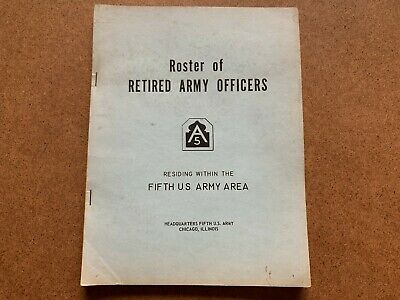 Vintage Retired Army Officers Fifth Us Army Area Roster