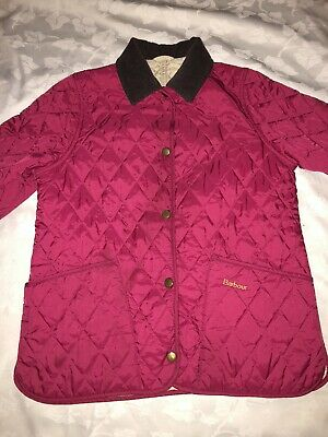 Barbour Pink Quilted Jacket Girls Kids Large Age 10/11
