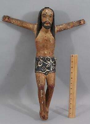 Lrg Antique 19thC Folk Art Carved Wood Spanish Colonial Santos Jesus Crucifix