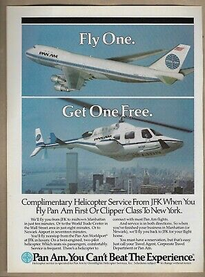 Pan Am Fly One Get One Free JFK New York Helicopter Service 1985 print Ad