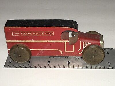 Vintage Small Wooden Red & White Stores Advertising Toy Truck