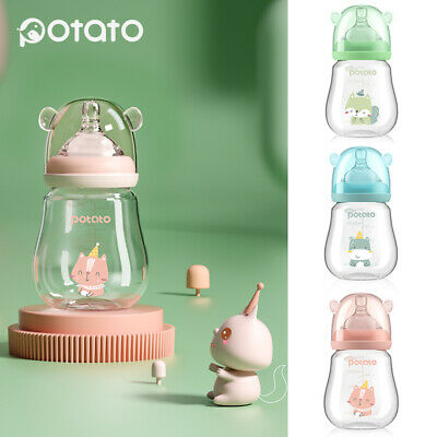 Baby Bottles Newborn Feeding Mini Baby Glass Bottles 150ml/5oz Pink, Blue, Green