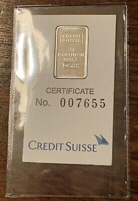 Credit Suisse Lady Liberty - Platinum Bar 2 gram - 999.5 Fine in Assay