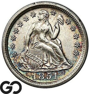 1851 Seated Liberty Dime, Nice Rainbow Colors, BU++ Collector Coin