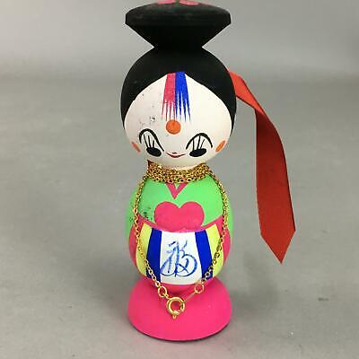 Japanese Kokeshi Doll Vtg Wooden Figurine Chinese Clothes Girl Kanji KF315