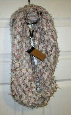 New Steve Madden fuzzy women winter soft infinity scarf blue gray pink colorful