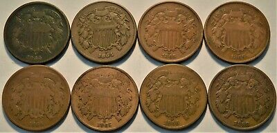 Lot of (8) Two Cent Pieces 1864, 1865, 1866, 1868, Better Type Coins, 2C