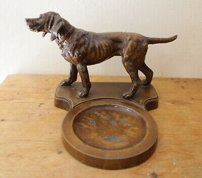 Old Pointer Hunting Dog Tray NUART Creations NYC Art Deco Figural Ornate Detail