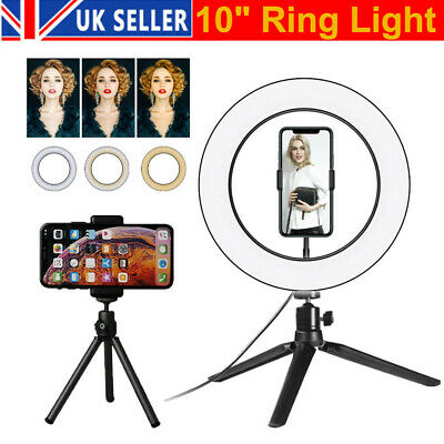 """2 in1 10"""" LED Ring Light Live Makeup Video Photo With Desk Tripod Phone Holder"""