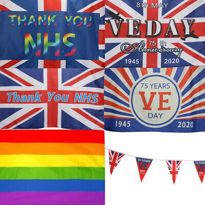 Thank You NHS / VE DAY 75th LARGE FLAG 3FT * 5FT Flag Banner Bunting Decor