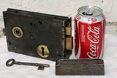 Antique ?? Reclaimed Metal Door Rim Lock  + Working Key And Cast Iron Keep