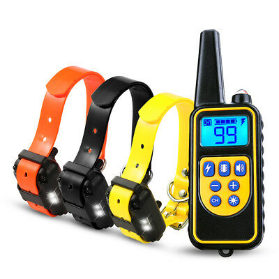 875yard 1/2/3 Dog Electric Shock Collar Waterproof Rechargeable LCD Pet Training