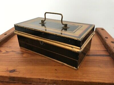 Antique Late Victorian Painted Metal Cash Box
