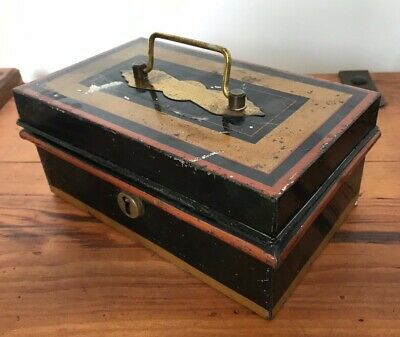 Antique Unusual Late Victorian Painted Metal Cash Box With Internal Box Trays