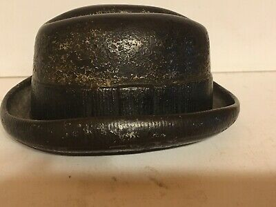 Antique Cast Iron Match Holder Derby Hat