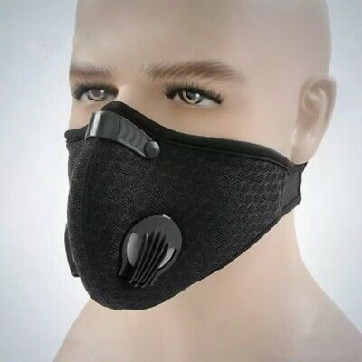 UK STOCK Cycling Sports Face Mask W/ Activated Carbon Filter Anti Pollution