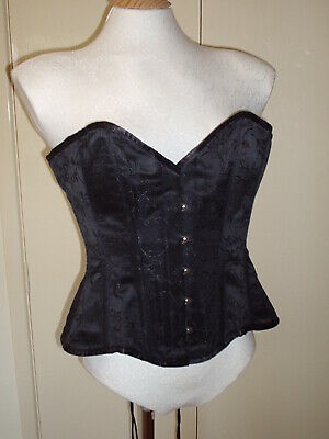 CB BLACK BROCADE GOTHIC VICTORIAN STYLE CORSET SIZE 28 in WAIST SIZE 12 TO 14