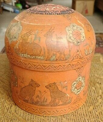 Indian Mogul design round box with lid vintage