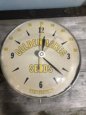 """VINTAGE 12"""" PAM CLOCK CO BUBBLE GLASS ADVERTISING THERMOMETER Golden Acre Seeds"""