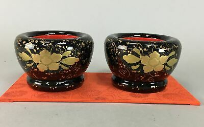 Japanese Hina Doll Miniature Bowl Vtg Lacquer ware Black Gold Makie Wood ID142