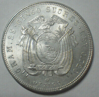 Ecuador 5 sucres 1944 issued at Mexico silver 0.75 25 grams 38 mms superb !